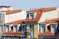 Thermal insulation of apartment building.  Royalty Free Stock Photography