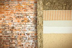 Thermal insulation coatings with hemp for building energy efficiency and reduce thermal losses against a brick wall. Building energy efficiency and savings stock photo