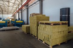 Thermal insulation fiberglass material in insulation panel workshop.  royalty free stock image