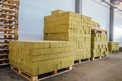 Thermal insulation material in warehouse. Thermal insulation fiberglass material in warehouse stock image
