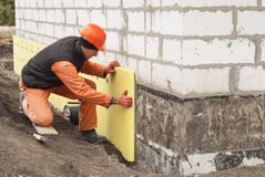 Thermal insulation of the foundation. Slabs of extruded polystyrene Royalty Free Stock Photography