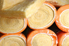 Thermal insulation material. In rolls laid in packing Stock Photos