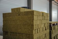 Thermal insulation material in warehouse. Thermal insulation fiberglass material in warehouse Stock Images