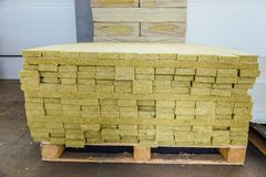 Thermal insulation material in warehouse. Thermal insulation fiberglass material in warehouse royalty free stock photo