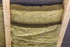 Thermal insulation mineral rock wool installation at the new bui. Lding attic ceiling Royalty Free Stock Photography