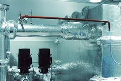 Thermal insulation of pipes with foil royalty free stock image