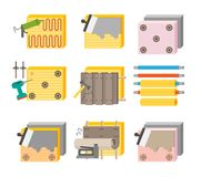 Thermal insulation process vector illustration icon set. With various stages, tools and materials Stock Image