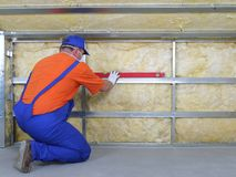 Thermal insulation work Stock Photos