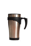 Thermal mug. Stainless designed thermal mug, isolated Royalty Free Stock Photography