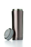 Thermal mug with lid. On white background stock photography