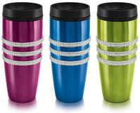 Thermal mugs. Thermal stainless steel mug with different colors royalty free stock photo