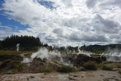 Thermal park, New Zealand. Steam rising out of the ground and fumerolles from geothermal activities are part of this geothermal  valley in Taupo, New Zealand Royalty Free Stock Image