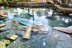 Thermal pool of Cleopatra in Pamukkale. Thermal pool of Cleopatra in Pamukkale, Turkey. Photo taken on:  May 28 Wednesday, 2014 Stock Photos