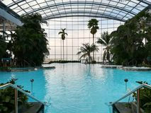 Thermal pool and tropical vegetation Royalty Free Stock Images