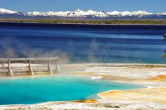 Thermal pool & Yellowstone Lake Royalty Free Stock Photos