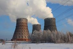 Thermal power of cooling tower royalty free stock photography