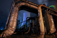 Thermal power plant by night #1 Royalty Free Stock Photo