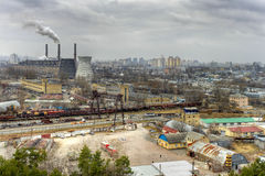 Thermal Power Plant. The old Soviet power. The view from the heights Stock Photos