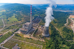 Thermal power plant aerial. Helicopter shoot of the thermal power plant Pljevlja, only coal-fired power station in Montenegro Stock Photos