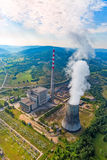 Thermal power plant aerial. Helicopter shoot of the thermal power plant Pljevlja, only coal-fired power station in Montenegro Royalty Free Stock Photos