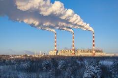 Thermal power plant in Siberia. Surgut. stock photo