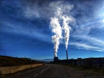 Thermal power plant with chimneys. Thermal power plant royalty free stock photos