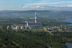 Thermal power plant in the city of Petropavlovsk-Kamchatsky near Avacha Bay. Royalty Free Stock Images