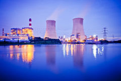 Thermal power plant at dusk Royalty Free Stock Image