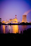 Thermal power plant at dusk Stock Photos