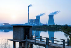 Thermal power plant. At dusk, the thermal power plants Stock Images