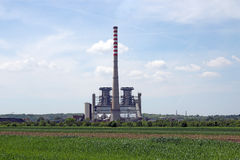 Thermal power plant on field Royalty Free Stock Images