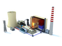 Thermal power plant inked. 3d rendering of a thermal power plant inked Stock Photo