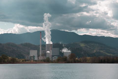 Thermal power plant at lake Royalty Free Stock Images