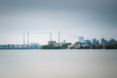 Thermal power plant with lake Royalty Free Stock Image