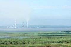 Thermal Power Plant near a reservoir Royalty Free Stock Images