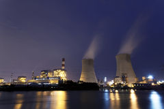 Thermal power plant at night Royalty Free Stock Images