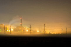 Thermal power plant by night Royalty Free Stock Photography