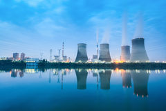 Thermal power plant in nightfall Stock Photo
