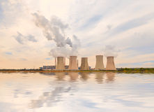 Thermal power plant reflected in the water, Czech Republic Royalty Free Stock Photography