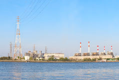 Thermal  Power  Plant beside river side location use for industr Royalty Free Stock Photos