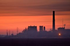 Thermal power plant silhouette Royalty Free Stock Photography