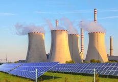 Thermal power plant with solar panels in Czech Republic Europe Stock Photography