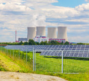 Thermal power plant with solar panels in Czech Republic Europe Stock Images