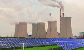 Thermal power plant with solar panels in Czech Republic Europe Royalty Free Stock Photography