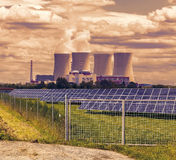 Thermal power plant with solar panels in Czech Republic Europe,sunset sky Royalty Free Stock Photo