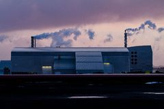 Thermal power Plant At Sunset, Iceland stock images