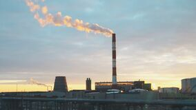 Thermal power plant. Thermal power plant on the sunset stock video