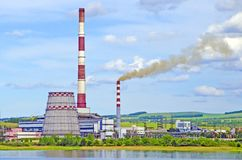 Thermal power plant. View from the side of the lake. Summer. Russia. Siberia stock images