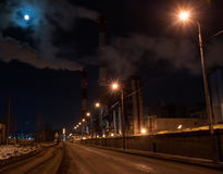 Thermal Power Plant. Winter night near thermal power plant in St.Petersburg, Russia royalty free stock image