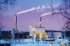 Thermal power plant in winter Stock Image